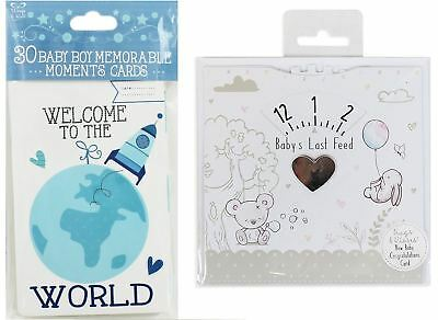 Baby Boy Bundle Baby Moment Cards Blue and Baby's Last Feed Card Gift - New