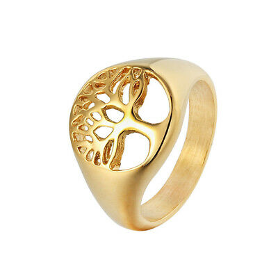 Tree of Life Hollow Retro Mens Womens 316L Stainless Steel Band Ring Sizes 7-12