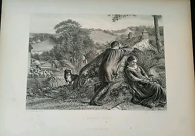 A Passing Cloud  1885 engraving with dog