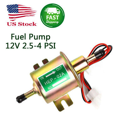 Electric Fuel Pump 12V 2.5-4 PSI Universal Low Pressure Gas Petrol Diesel Inline