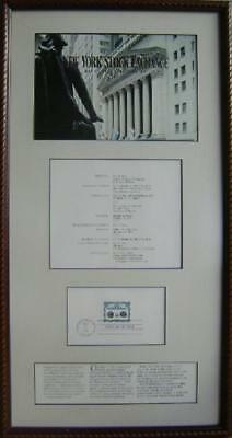 NYSE WALL STREET 200yr Ann. Comm. USPS FIRST DAY ISSUE Postage Stamp Framed Nice