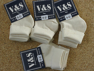 8 PAIRS TURN OVER BABY SOCKS  PINK ,CREAM ,NAVY, BLACK,charcoal GREY