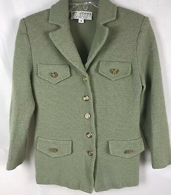 St. John Collection Marie Gray Blazer Jacket Women's 4 Fits XS S Button Salvage?