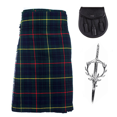 3 Piece Kilt Package with Kilt Pin and Sporran - Sizes 30-44 - Hunting Stewart