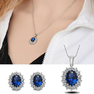 Sapphire Crystal Earring Gifts Wedding Necklace Pendant Jewelry Set Xmas Gift