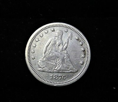 1876 cc Seated Liberty Quarter XF