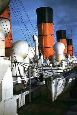Cunard Line - Aquitania Deck with Showing All Four Funnels - Color 8x10 Print