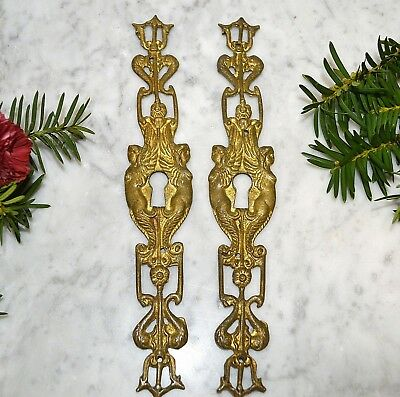 Antique Pair French Ormolu Large Keyhole Escutcheons Mermaid Angels Trident Fish