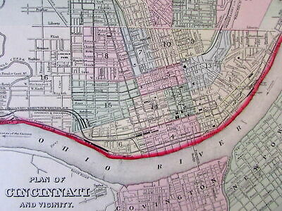 Cincinnati Ohio city plan 1874 attractive decorative S.A. Mitchell old map