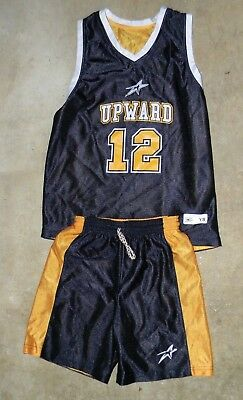 UPWARD #12 Basketball Jersey Style Uniform Blue Yellow Youth Size XS Reversible