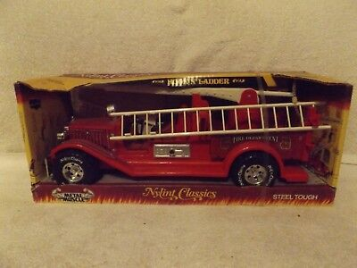 "VINTAGE PRESSED STEEL--1980's NYLINT CLASSIC FIRETRUCK--16 1/2"" LONG--NEW IN BOX"