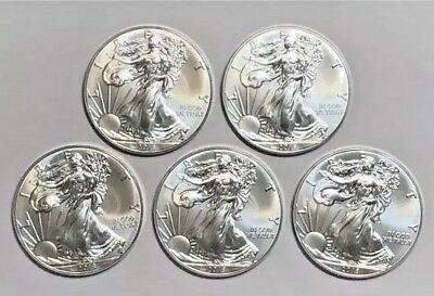 SALE Lot of 5 2018 American Silver Eagles BU 1 oz 999 $1 Coin With Free Shipping