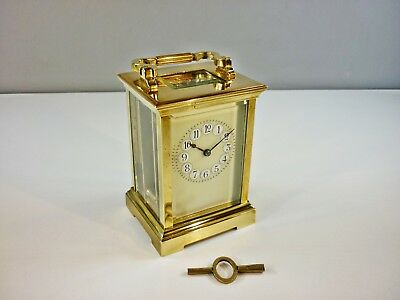 Fine Antique Large Solid Brass Wind-up Carriage Clock Working + Key
