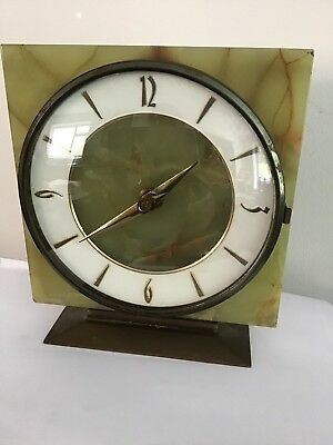 Vintage Onyx And Brass Mantel Clock With Original Kienzle Movement