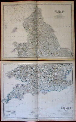 England and Wales huge 2 sheets c.1850 Johnston original hand color old map