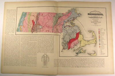 Massachusetts Geological Map by Hitchcock 1871 large Walling & Gray nice map