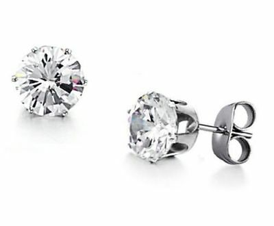Surgical Stainless Steel Stud Earrings Cubic Zircon 6mm Round Men Women 2PC