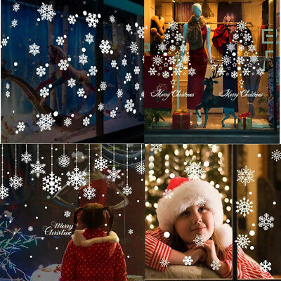 Merry Christmas Snowflake Decals Show Window Glass Wall Stickers Vinyl Art Decor