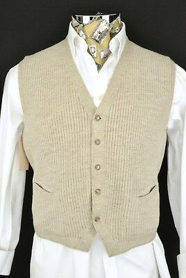 """Size 42"""" Vintage Knitted Waistcoat 1950s 1940s Cable Knit"""
