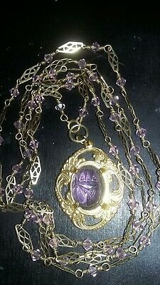 Reduced! Vintage Egyptian Revival Lilac Glass Scarab Gold Plated Chain Necklace.