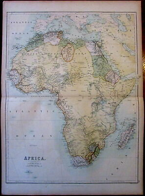Africa c.1865 Bartholomew A & C Black color lithographed antique map