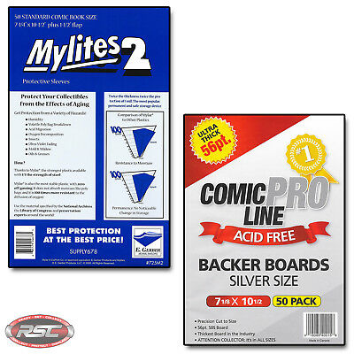 50 - E. Gerber Mylites 2 Standard Mylar Bags & Comic Pro Line Silver Age Boards!