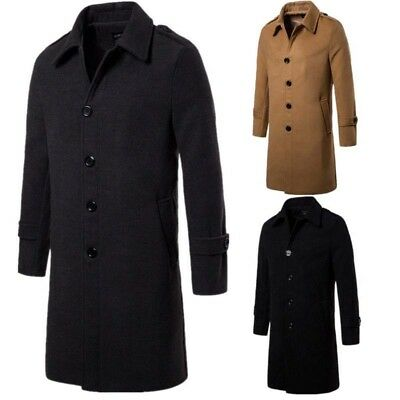 Men's Trench Coat Outwear Slim Overcoat Warm Long Jacket Fit Lapel Wool Coat Top