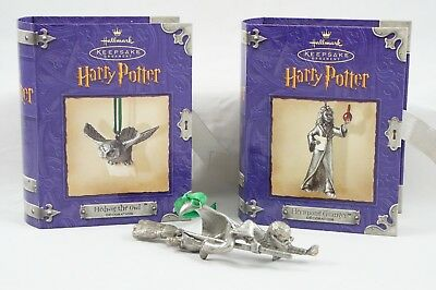 Set 3 Harry Potter Pewter Hallmark Keepsake Ornaments Hermione Hedwig Owl Snitch