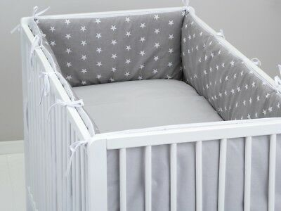 ALL ROUND BUMPER padded filled straight for cot / cot bed GREY STARS 4 sides