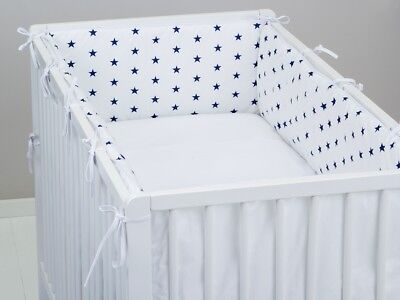 ALL ROUND BUMPER padded filled straight cot /cot bed WHITE NAVY STARS 4 sides