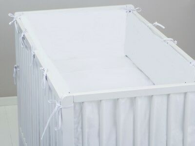 ALL ROUND BUMPER padded filled straight cot /cot bed WHITE PLAIN 4 sides AROUND
