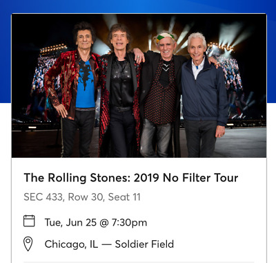 The Rolling Stones Ticket - Chicago, IL Tuesday June 25th, 2019 - Soldier Field