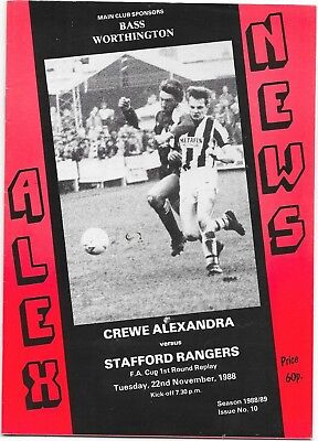 Crewe Alexandra v Stafford Rangers FA Cup 1st Round Replay 22/11/1988