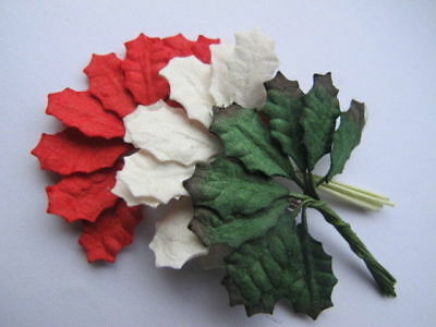 60 Small RED & GREEN & WHITE Leaves Holly Poinsettia Wire Stem Paper H1RGW