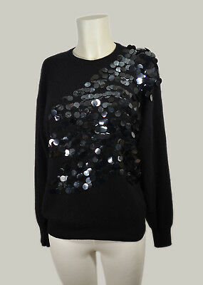 f037c0abb9 MAGLIONE DONNA ANGORA NERO 40 M PAILLETTES PULL OVER BLACK SEQUIN Jumper  Sweater