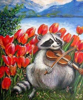 """Raccoon Celebrating Spring"" 20X24""Tulips Original Oil Painting by Nadia Bykova"