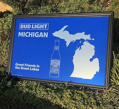 Budweiser Michigan Map Great Lakes Beer Bar Big Mirror Man Cave Pub Sign