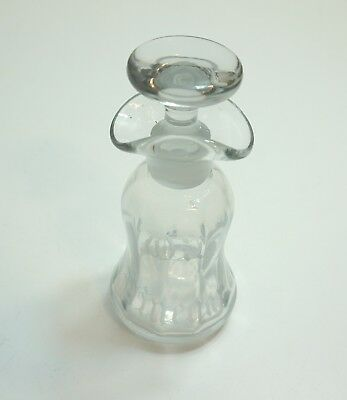 """Antique Etched 6 1/2"""" Tall Oil Vinegar Decanter Bottle With Ground Stopper"""