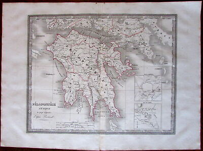 Peloponnese Attica Greece Athens Sparta c.1834 engraved hand color old map