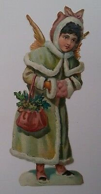 Pretty Emboss. Victorian Scrap. Snow Angel with a Bag of Flora.  App11x5cms.