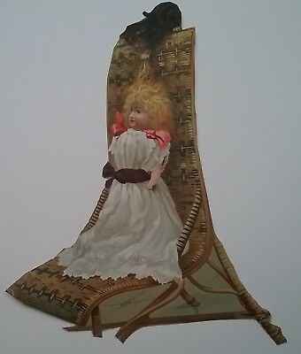 V. Lge Victorian Scrap/Cutting. Doll in chair, Cat playing with her hair 29x22cm