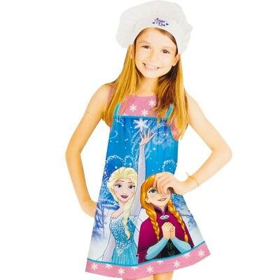 Official Disney Frozen Elsa Anna Chef Apron and Hat Set Gift Cook Bake 3-8 Years
