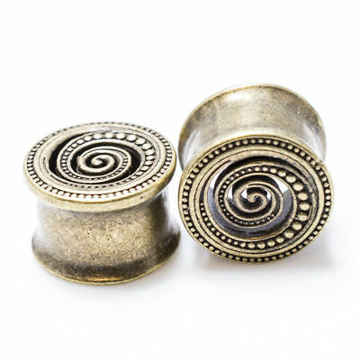 """Pair of antique brass ear plugs with spiral design - 0 gauge to 9/16"""" Inch(14mm)"""