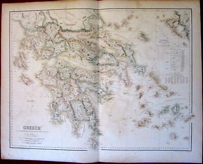 Greece Greek Islands Cyclades Ionian Sea Corfu c.1860 Fullarton antique map