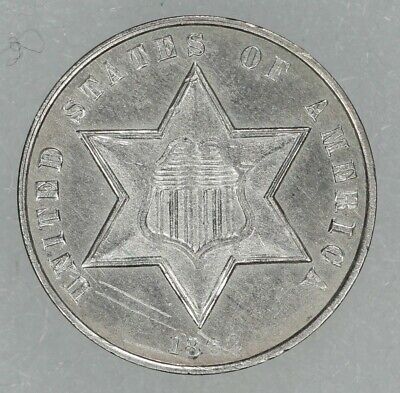 1862 Type 3 Three Cent Silver 3Cs Unc Details Scratched Civil War Date (7340)