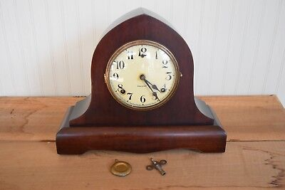 Antique Gilbert Mantel Clock Beehive Gothic Mantel Clock Cathedral Gong Strike