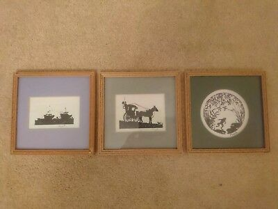 Vintage Retro Style Framed Under Glass Silhouette Pictures Prints X 3 Art Signed