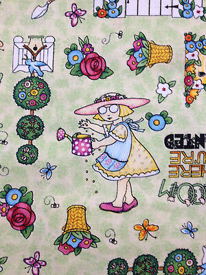 """Mary Engelbreit  20 1/2"""" x 46"""" Bloom Where You're Planted sew quilt fabric print"""