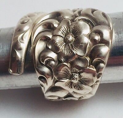 Vintage Handmade Theodore B. Star Sterling Silver Flower Spoon Ring Size: 5.5-8
