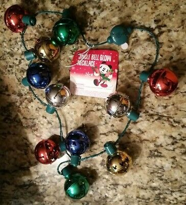 Disney Theme Parks Light Up Mickey Mouse Jingle Bell Holiday Christmas Necklace
